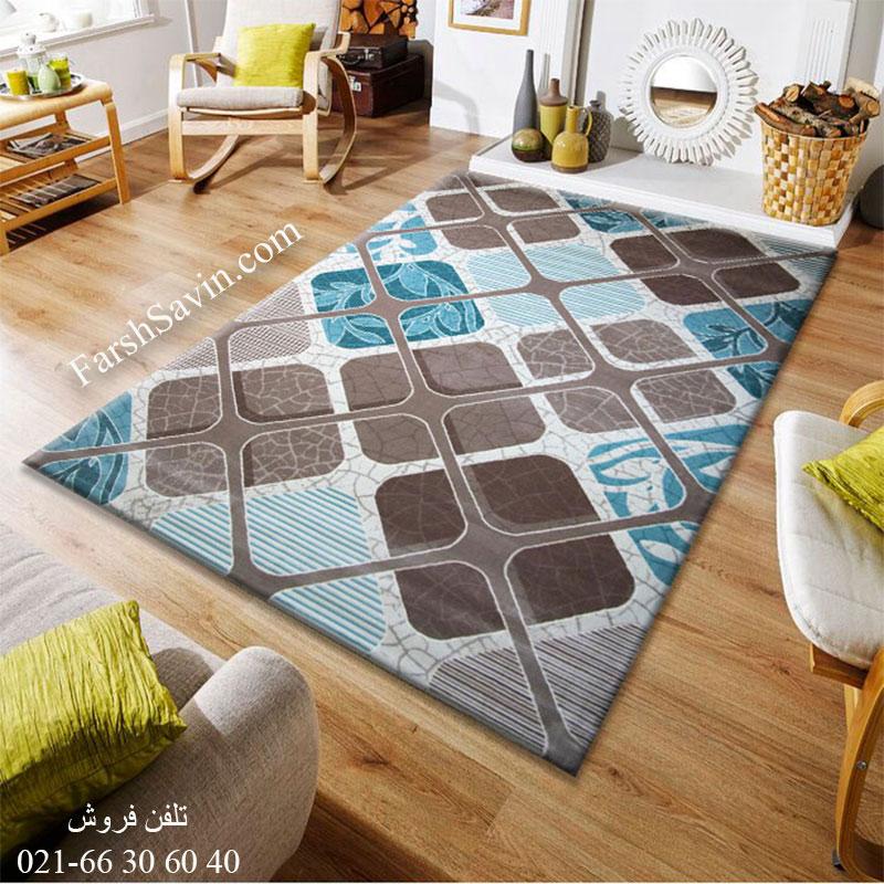 فرش ساوین 1510 آبی فرش پرفروش