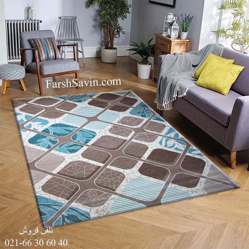 فرش ساوین 1510 آبی قیمت فرش 1510 آبی