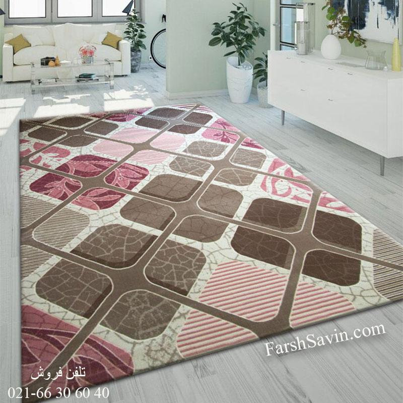 فرش ساوین 1510 صورتی فرش ارزان
