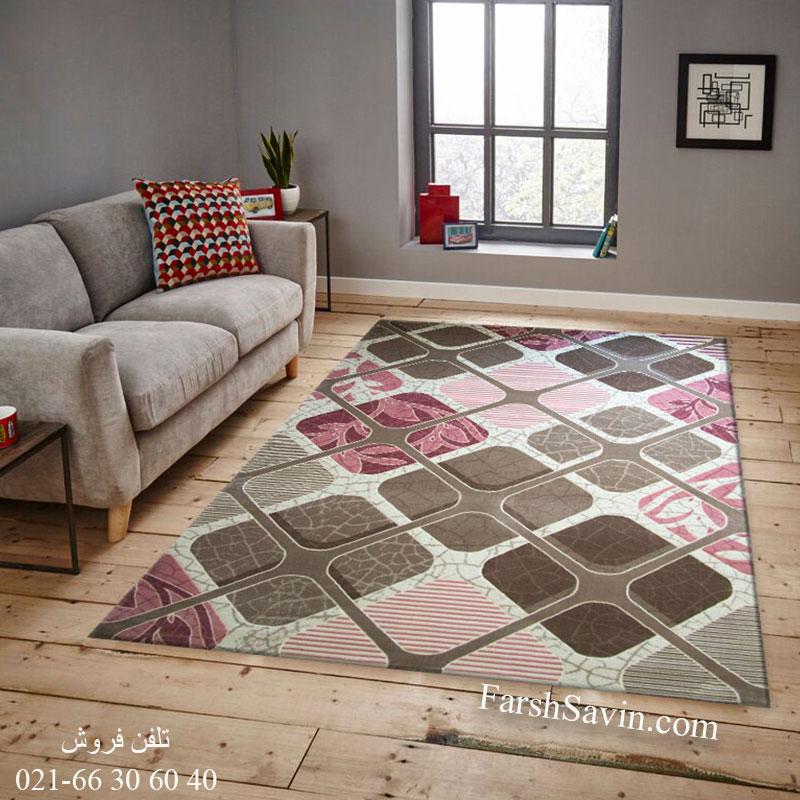 فرش ساوین 1510 صورتی فرش با کیفیت