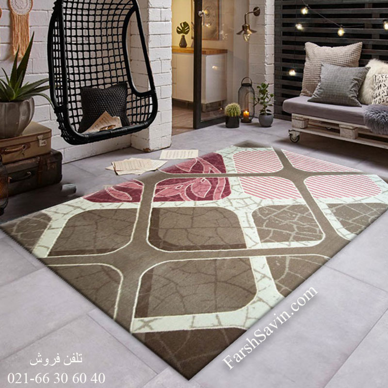 فرش ساوین 1510 صورتی فرش فانتزی