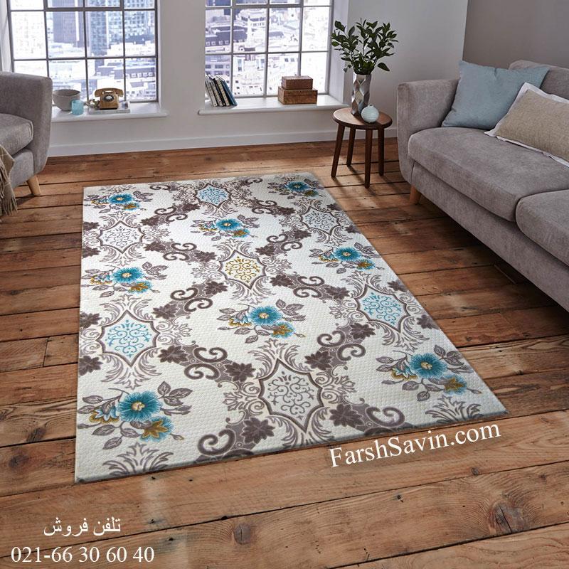 فرش ساوین 1511 آبی فرش خاص