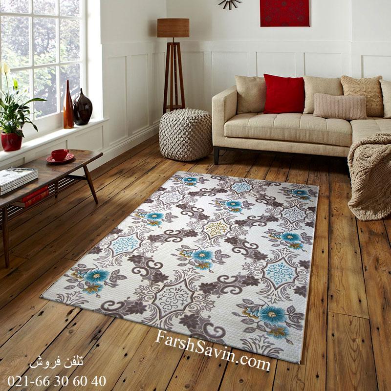 فرش ساوین 1511 آبی فرش پرفروش