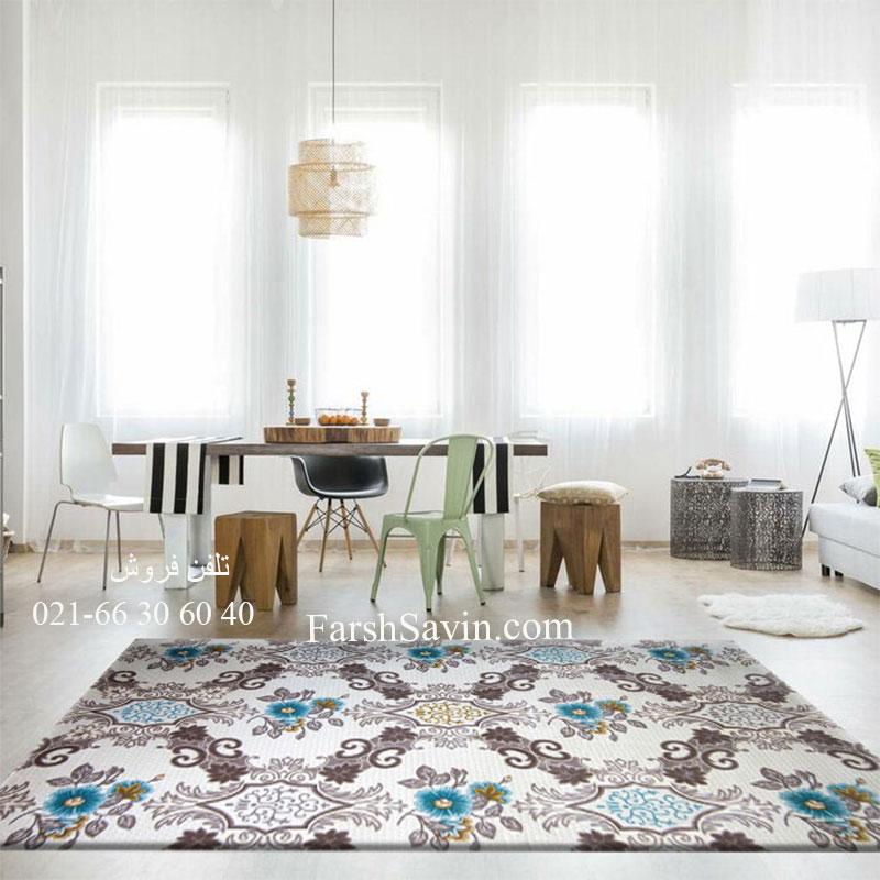 فرش ساوین 1511 آبی فرش اتاق خواب