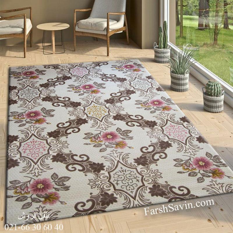 فرش ساوین 1511 صورتی فرش با کلاس