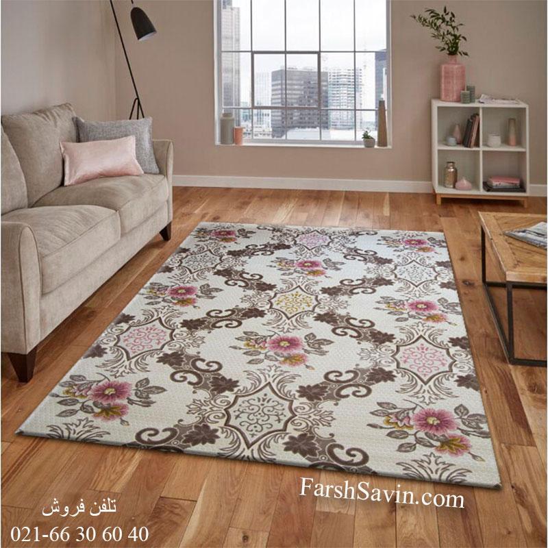 فرش ساوین 1511 صورتی فرش اتاق پذیرایی