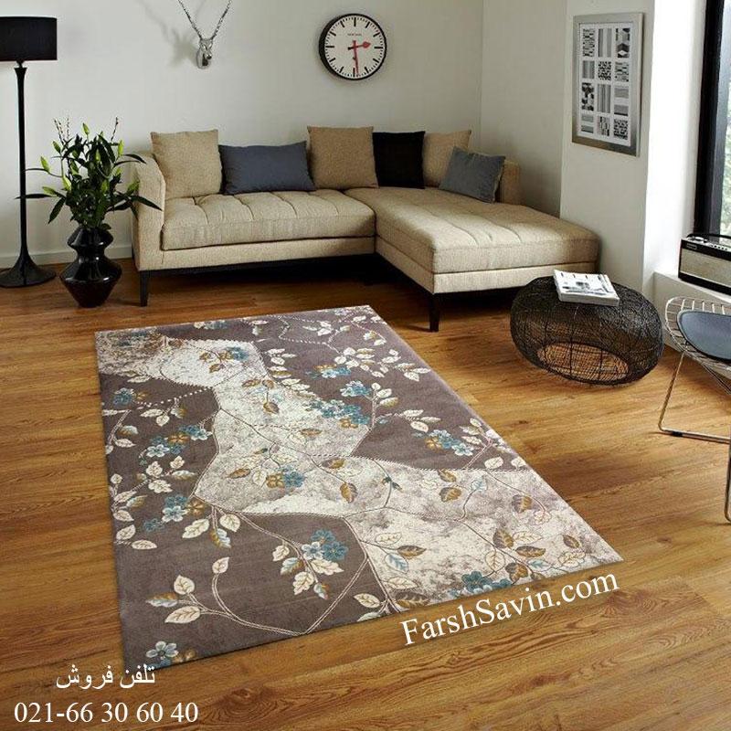 فرش ساوین 1516 آبی فرش اتاق خواب