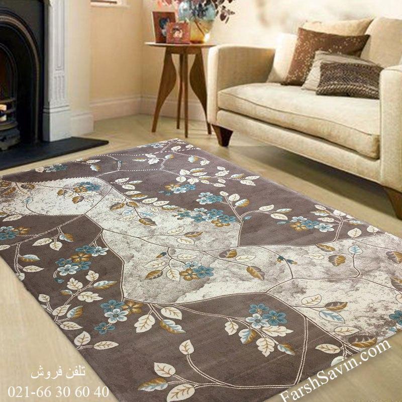 فرش ساوین 1516 آبی فرش ارزان