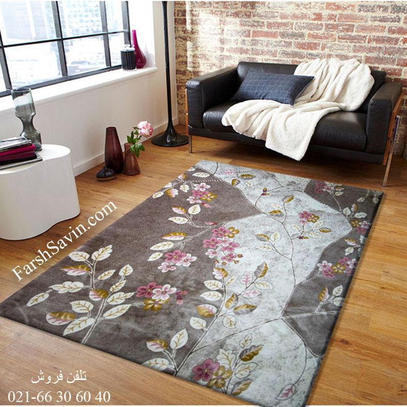 فرش ساوین 1512 صورتی فرش پرفروش