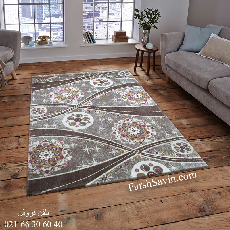 فرش ساوین 1513 صورتی فرش ماندگار