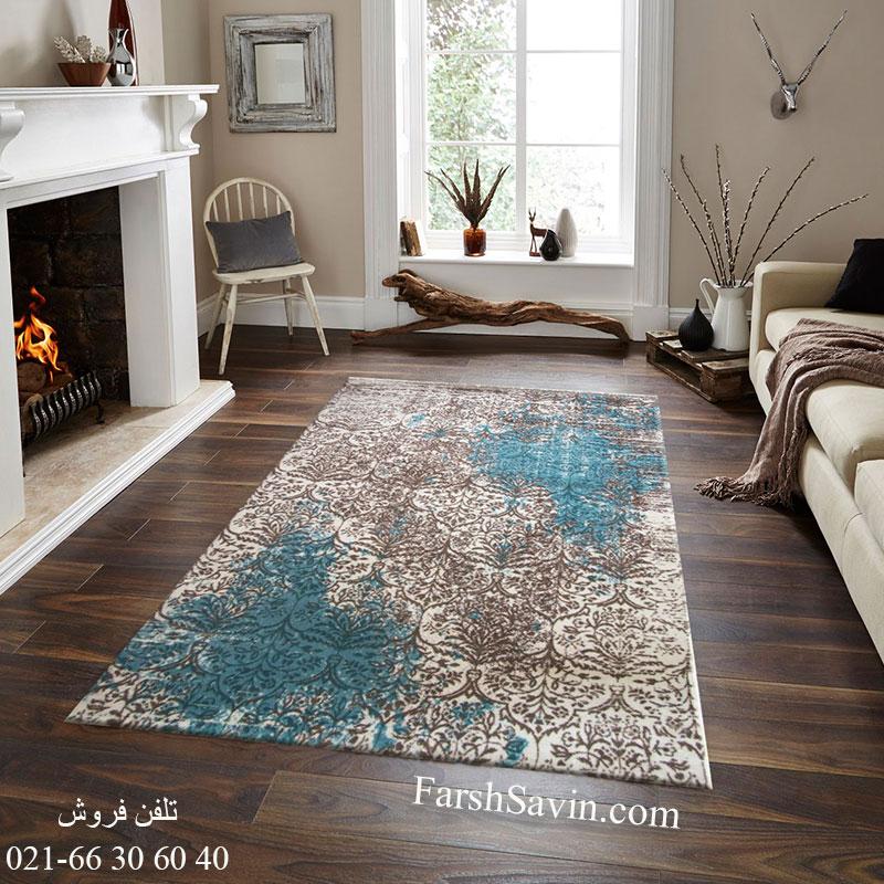 فرش ساوین 1514 آبی فرش ارزان