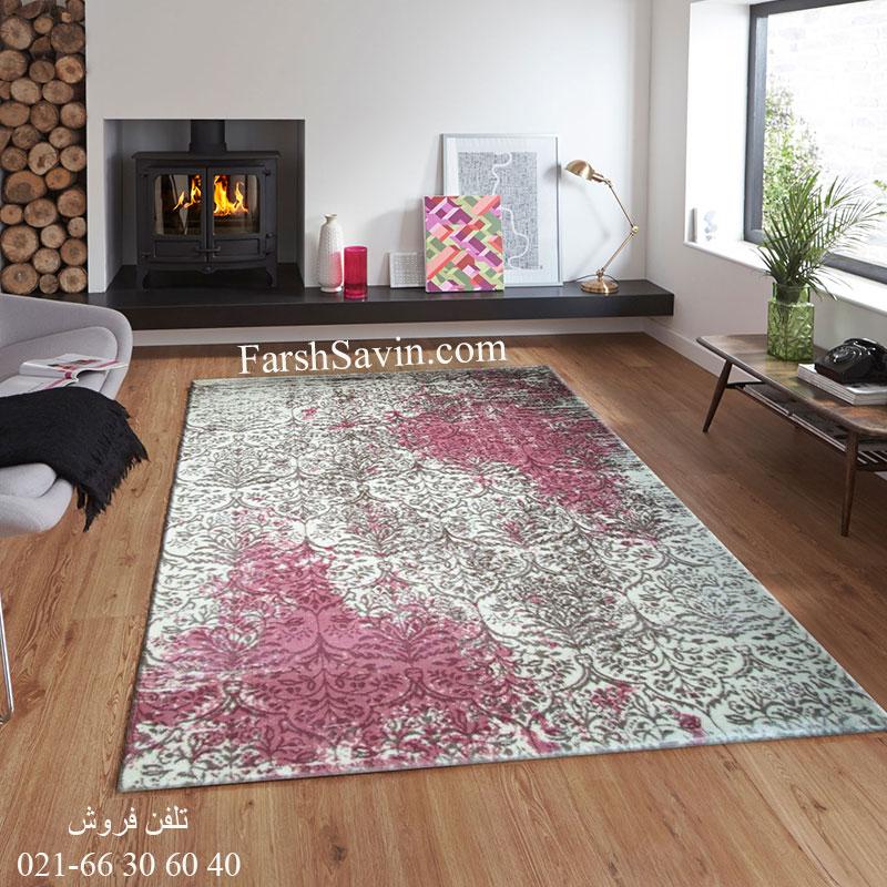 فرش ساوین 1514 صورتی فرش مدرن