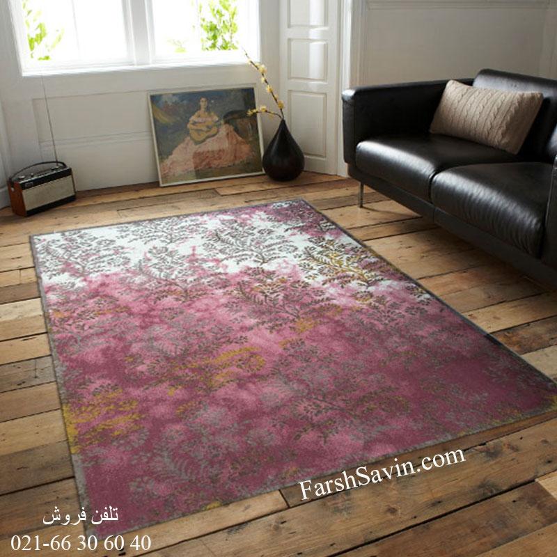 فرش ساوین 1516 صورتی فرش مدرن