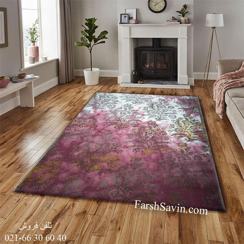 فرش ساوین 1516 صورتی فرش اتا پذیرایی