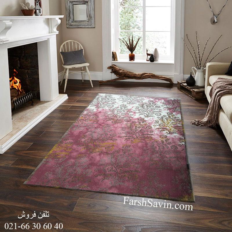 فرش ساوین 1516 صورتی فرش با کیفیت