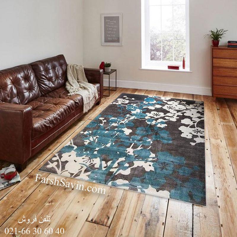 فرش ساوین 1520 آبی فرش ماندگار