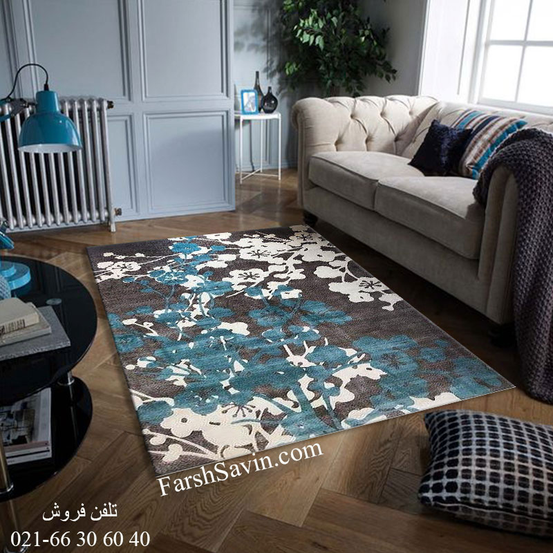 فرش ساوین 1520 آبی فرش پرفروش