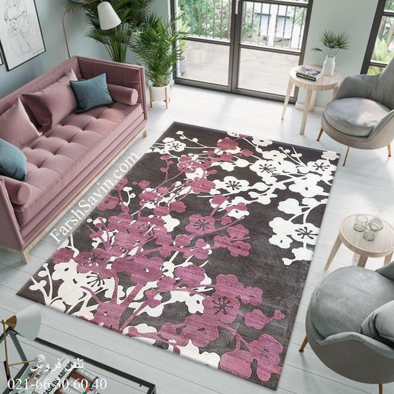فرش ساوین 1520 صورتی فرش لاکچری