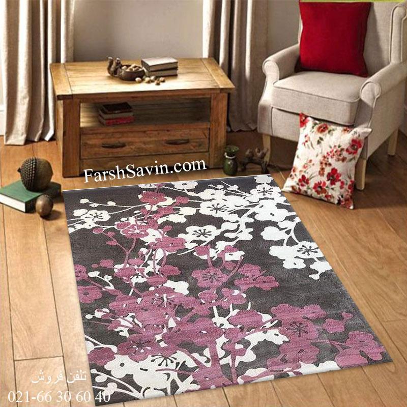فرش ساوین 1520 صورتی فرش مدرن