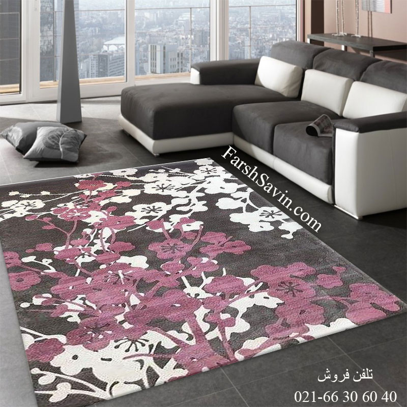 فرش ساوین 1520 صورتی فرش شیک