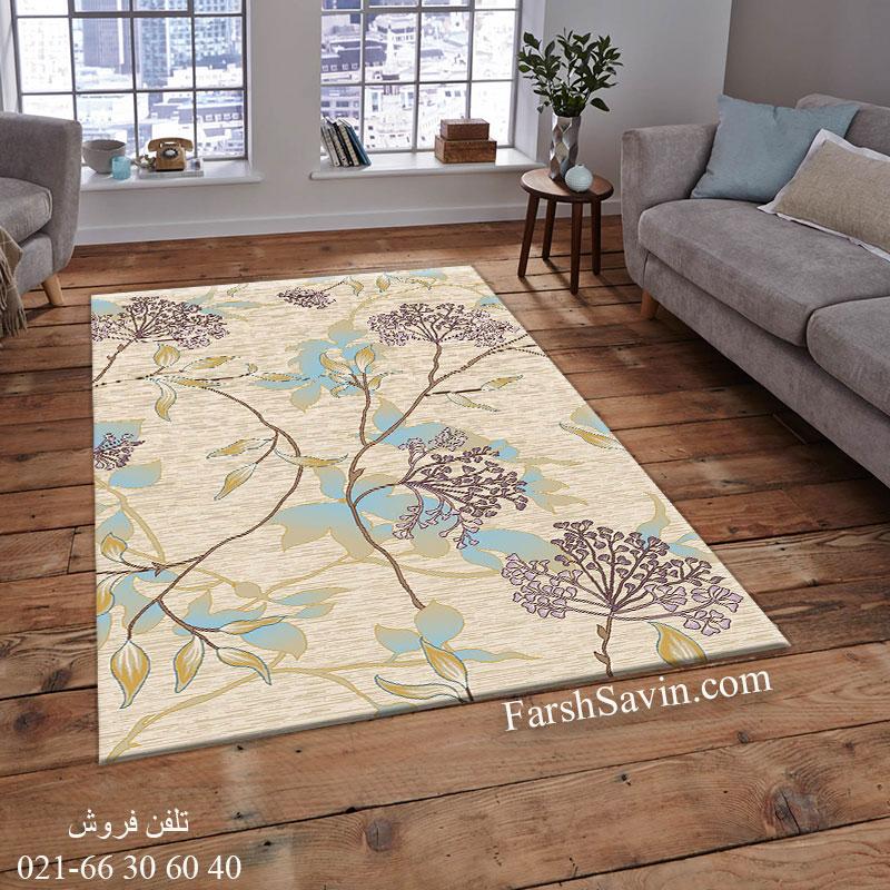 فرش ساوین 7260 کرم فرش خوش نقشه