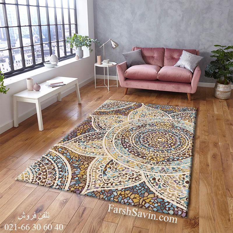 فرش ساوین 7261 قهوه ای فرش اتاق خواب