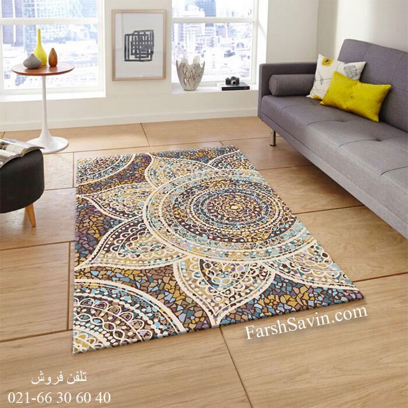 فرش ساوین 7261 قهوه ای فرش اتاق پذیرایی
