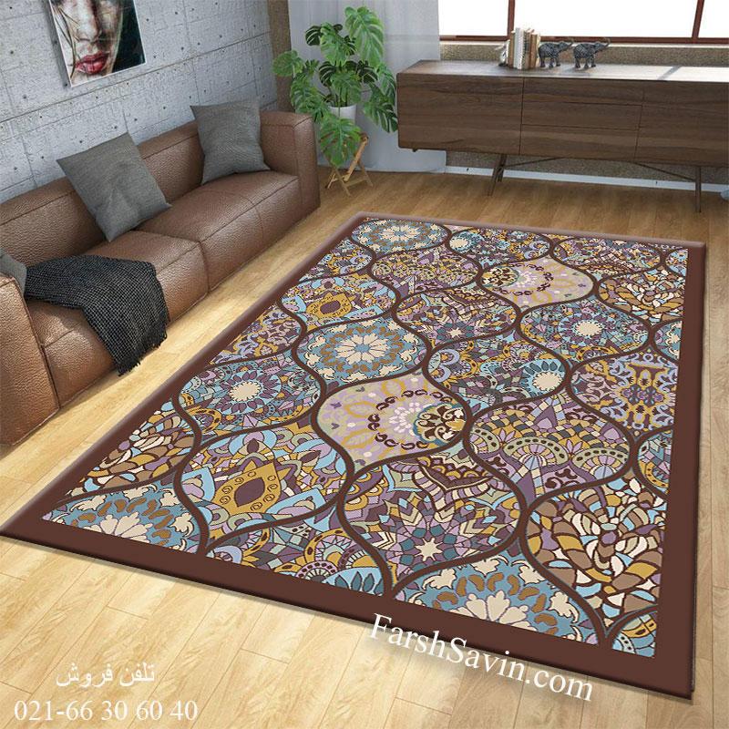 فرش ساوین 7264 قهوه ای فرش زیبا