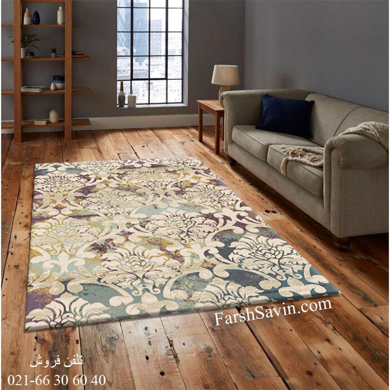 فرش ساوین 7266 کرم فرش اتاق خواب