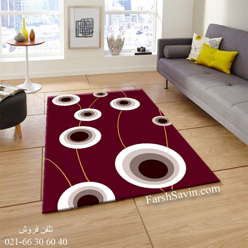 فرش ساوین بهرنگ زرشکی فرش ارزان