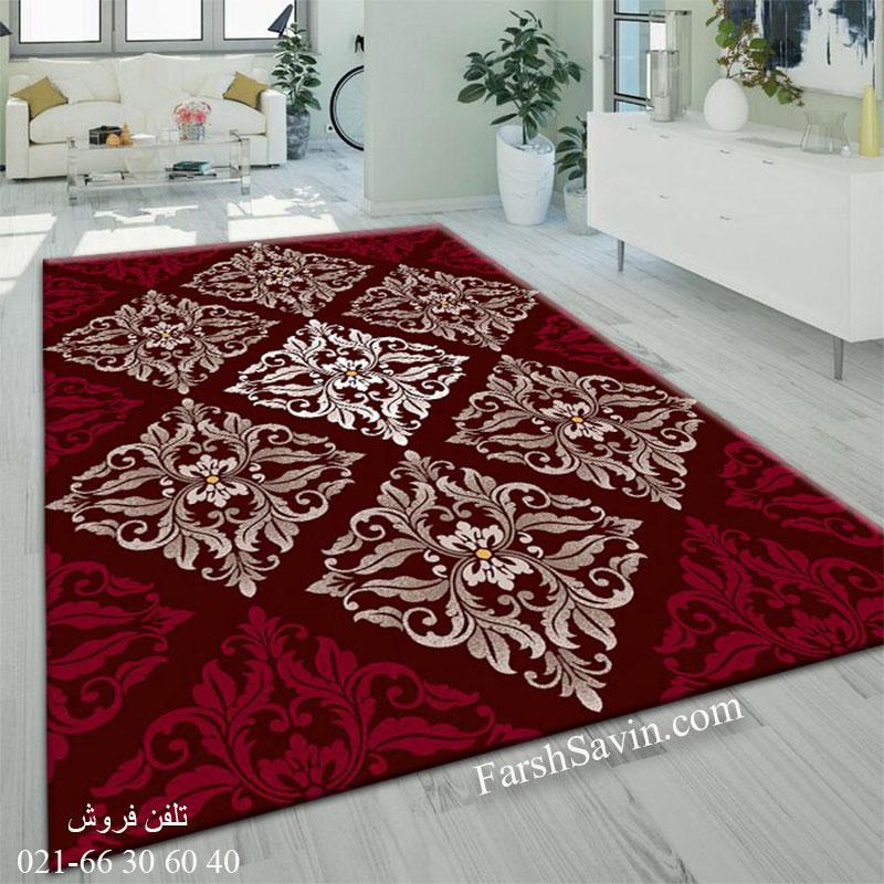 فرش ساوین کرانه قهوه ای فرش با کیفیت