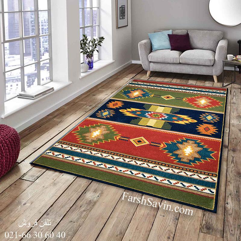 فرش ساوین نیایش سرمه ای فرش زیبا