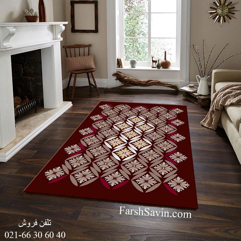 فرش ساوین رایان قهوه ای فرش زیبا