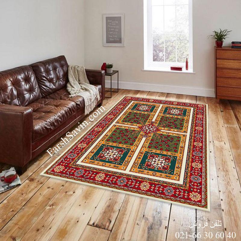 فرش ساوین باغ انار کرم فرش اتاق پذیرایی