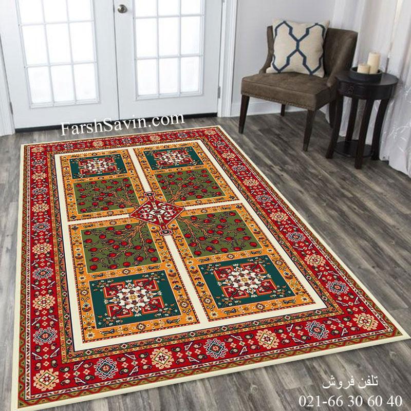فرش ساوین باغ انار کرم فرش خاص