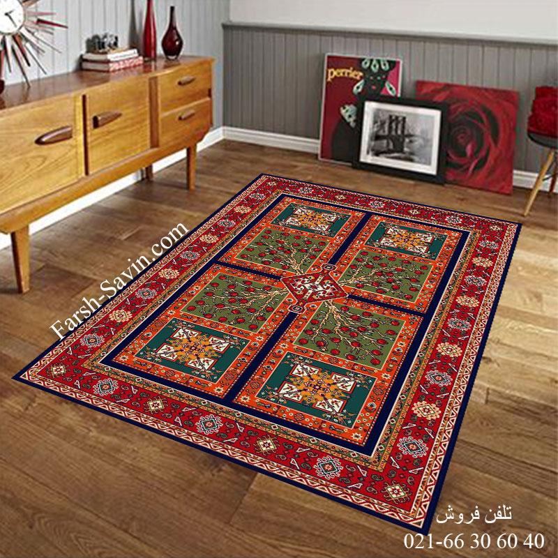فرش ساوین باغ انار سرمه ای فرش زیبا