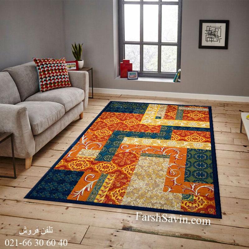 فرش ساوین طرح یاس سرمه ای فرش ارزان