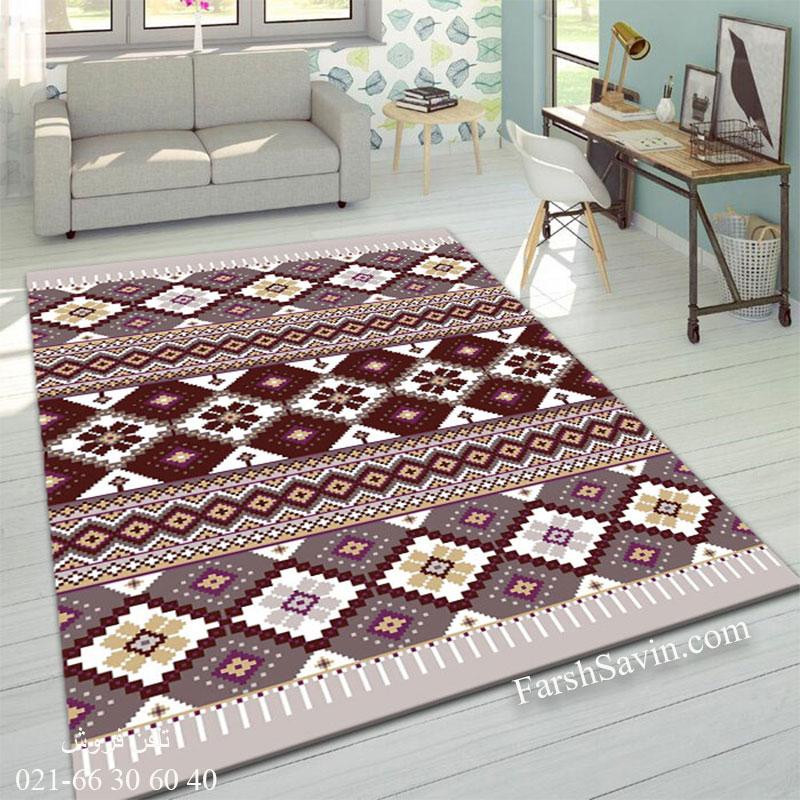 فرش ساوین پرستو شکلاتی فرش شیک