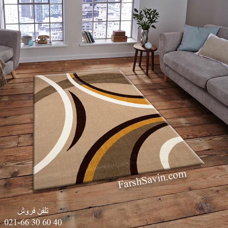فرش ساوین پرهام شکلاتی فرش اتاق خواب
