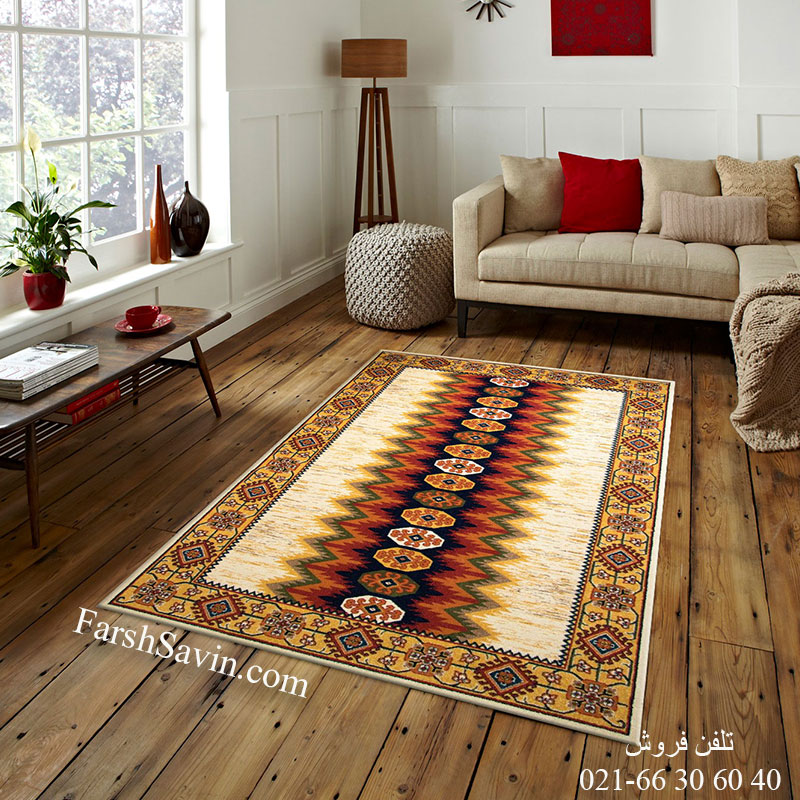 فرش ساوین پریناز کرم فرش دستبافت