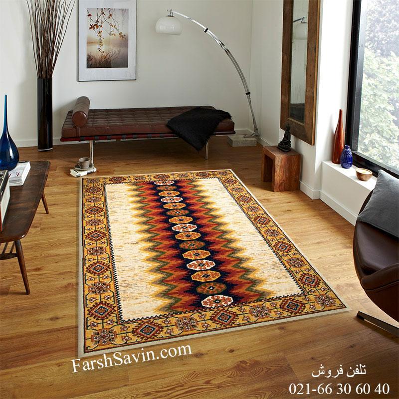 فرش ساوین پریناز کرم فرش اتاق خواب