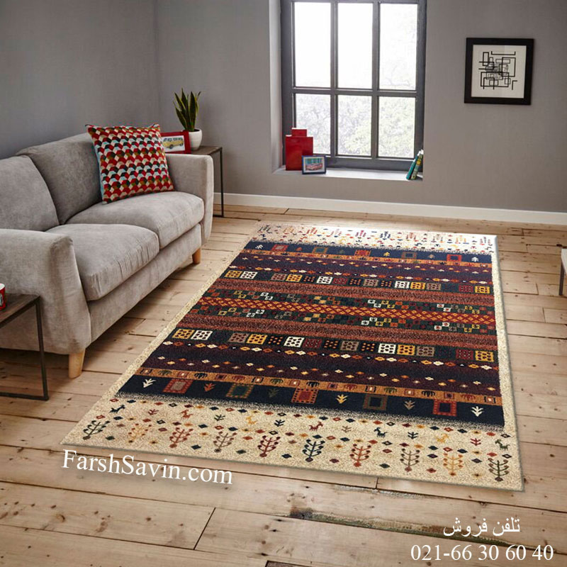 فرش ساوین زنبق کرم فرش روستایی