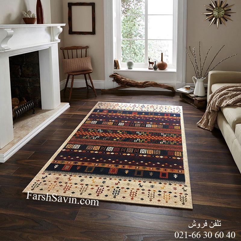 فرش ساوین زنبق کرم فرش پرفروش