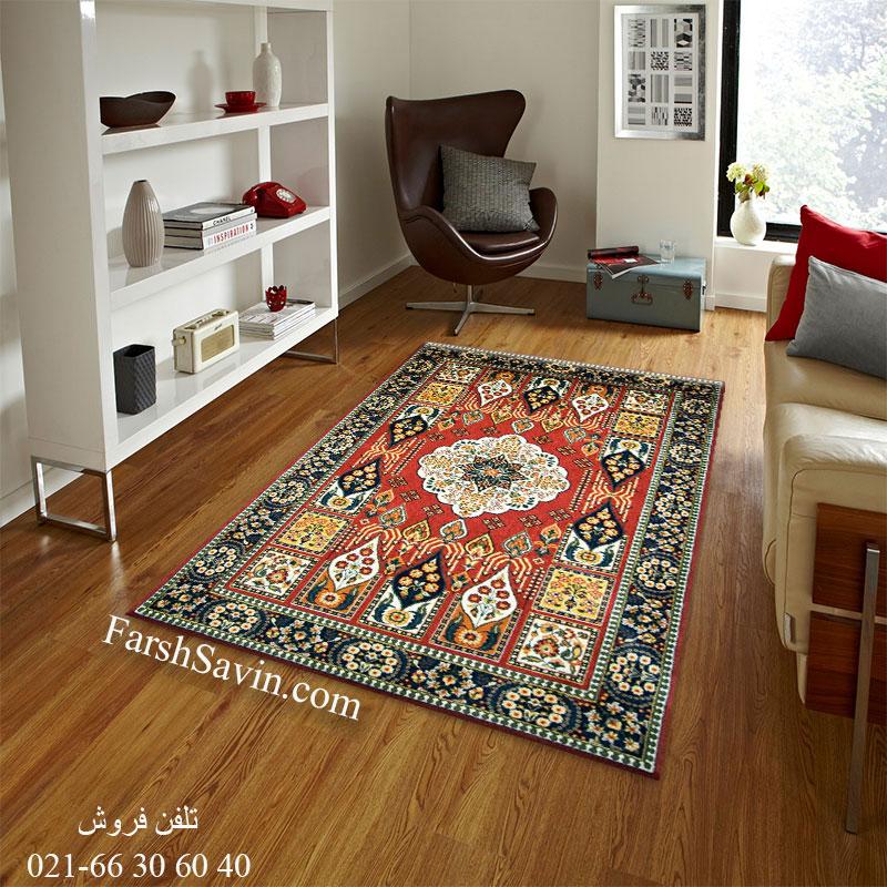 فرش ساوین کشکولی لاکی فرش اتاق پذیرایی