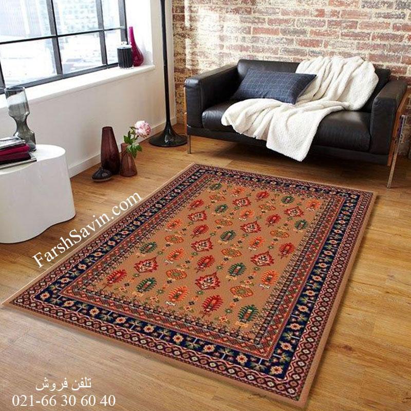 فرش ساوین سارگل شکلاتی فرش پرفروش