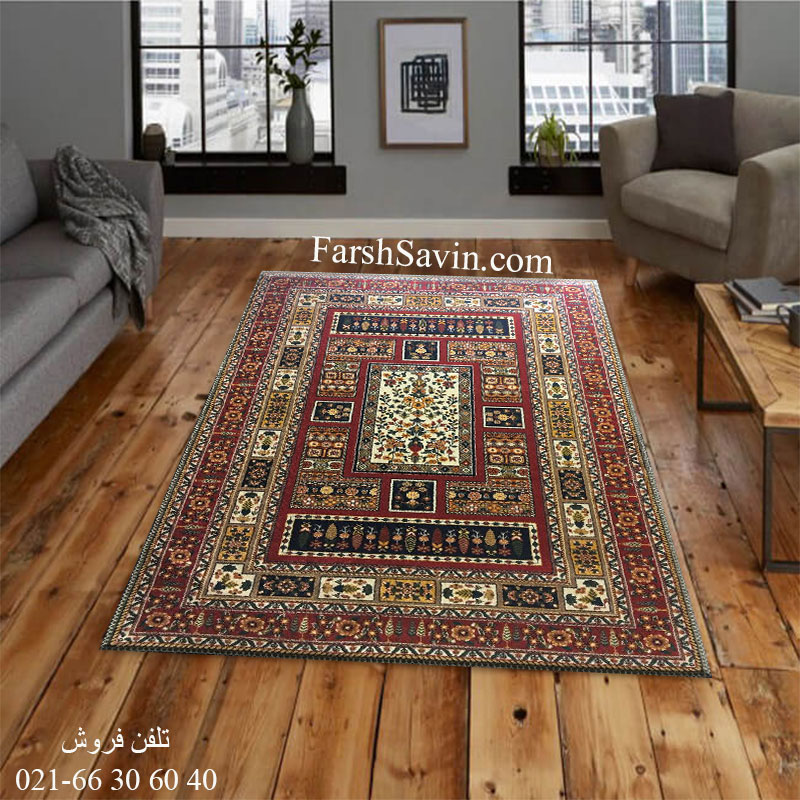 فرش ساوین باغی سرمه ای فرش پرفروش