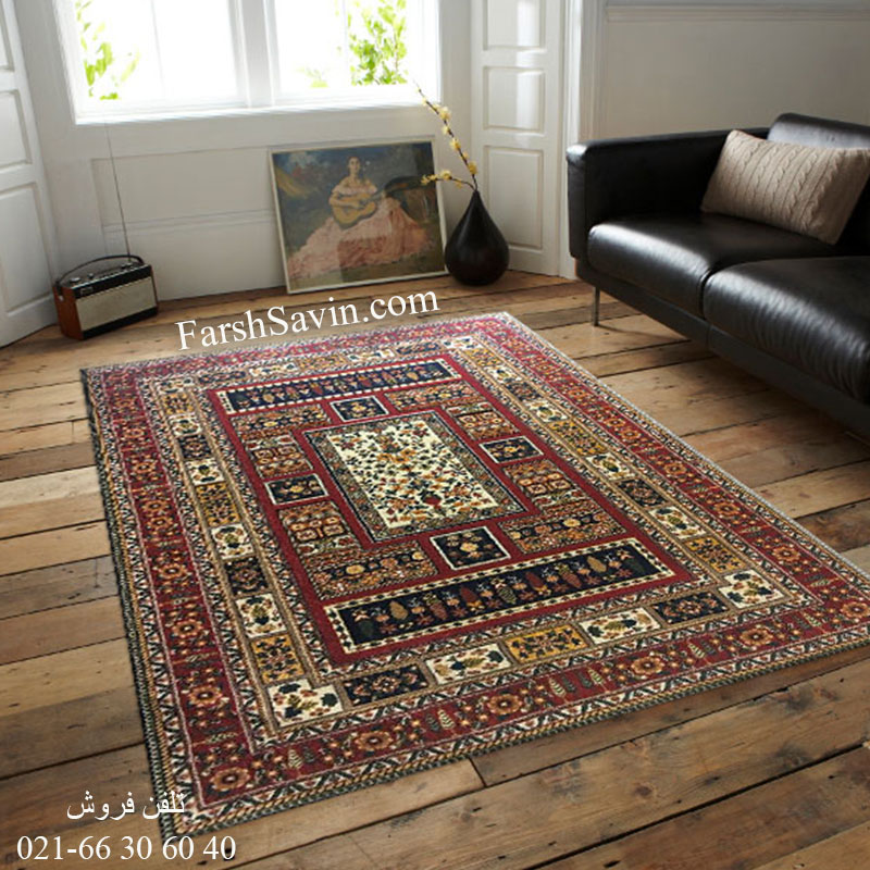 فرش ساوین باغی سرمه ای فرش اتاق خواب