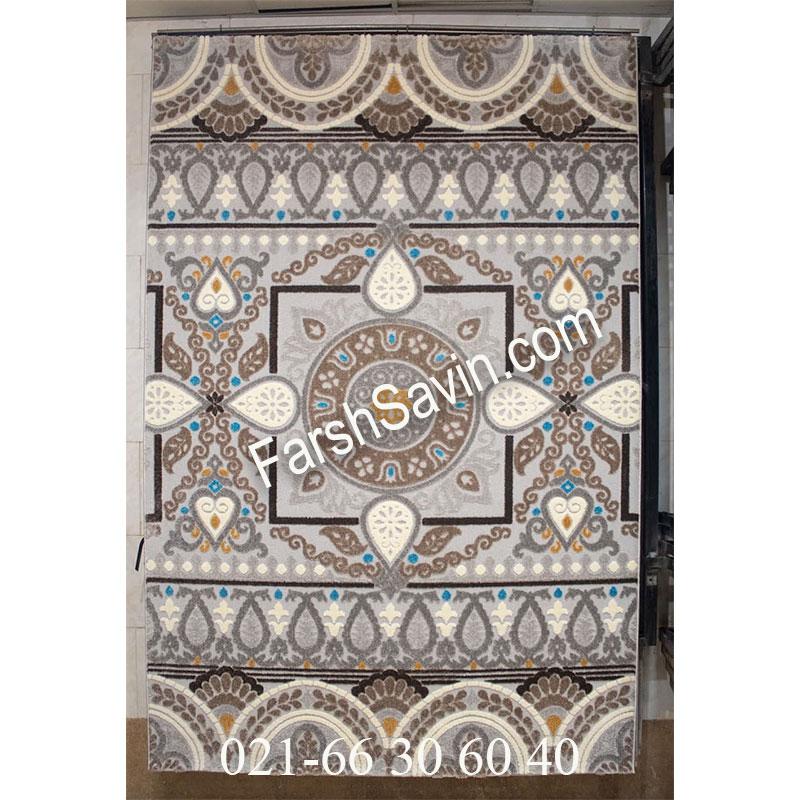 فرش ساوین 7416 نقره ای روشن فرش بادوام