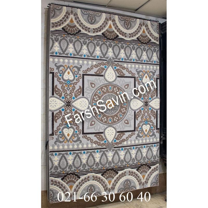 فرش ساوین 7416 نقره ای روشن فرش ارزان