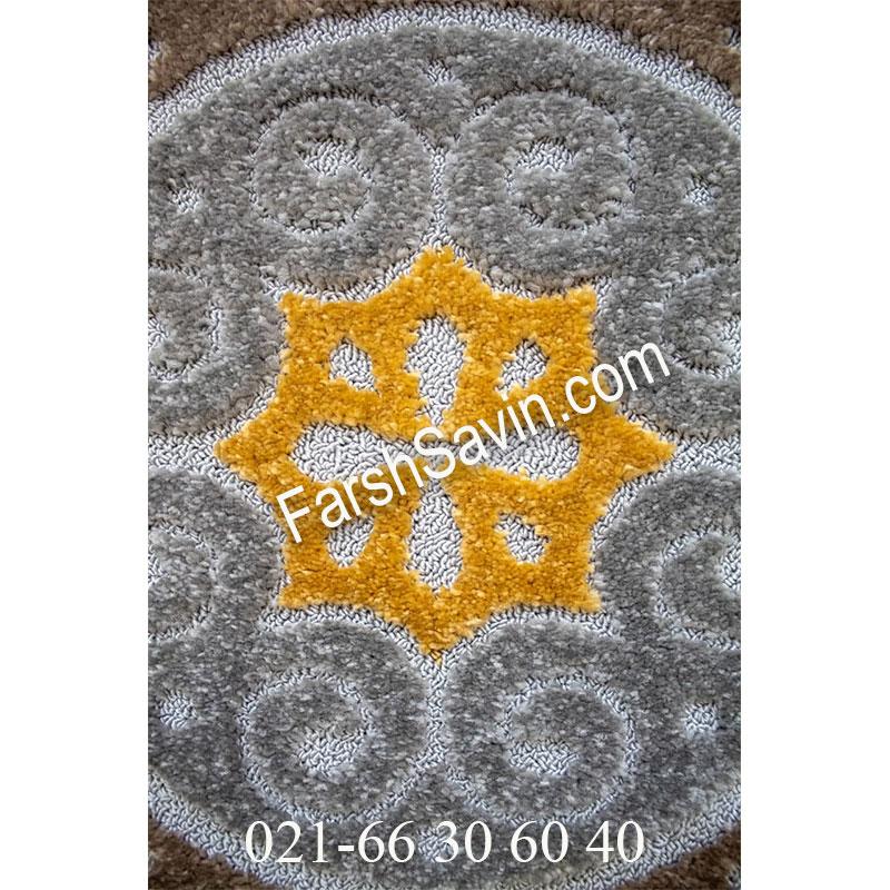 فرش ساوین 7416 نقره ای روشن فرش زیبا